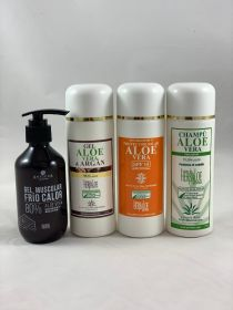 Pack Aloe Vera & Argan Gel, Shampoo , Heat-Cold Gel 200ml & SPF 15 Sun Cream