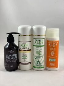 Pack Aloe Vera & Argan Gel, Shampoo , Heat-Cold Gel 200ml & SPF 30 Sun Cream