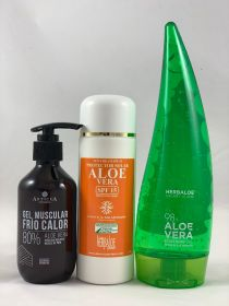 Pack Aloe Vera gel pure 98% 200ml, Heat-Cold Gel & SPF15 Sun Cream