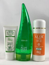 Pack Aloe Vera gel pure 98% 200ml, Hand Cream & SPF15 Sun Cream