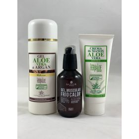Pack Gel Aloe & Argan, crema de manos y gel muscular