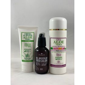 Pack Gel Aloe & Rosa Mosqueta, crema de manos y gel muscular