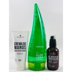 Crema de manos 100ml +Gel muscular 100ml  + Gel puro 98% 200ml