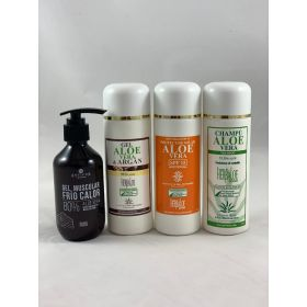 Pack de Gel aloe &argan, champú,  gel muscular 200ml y protección solar 15