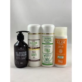 Pack de gel argan 250ml + champú 250ml + gel musc 200ml protección solar 30